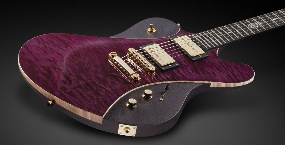 Idolmaker Stevie Salas Signature - French Violet Transparent High Polish - Nirvana Black Transparent Satin side and back